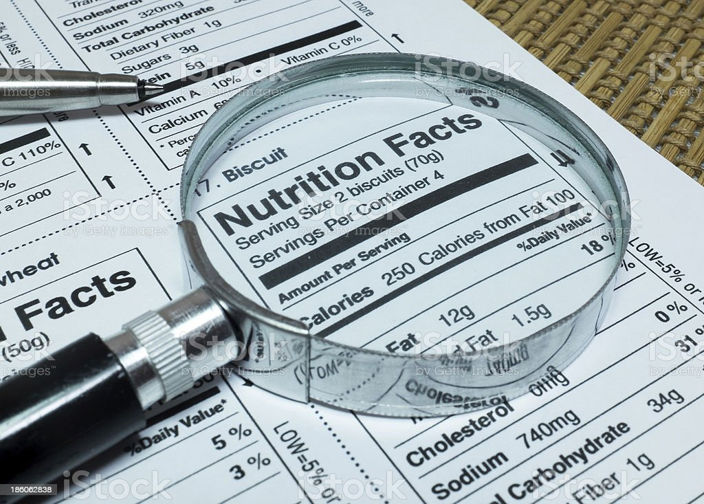 Magnifier highlighting Nutrition Facts of Foods stock photo
