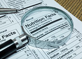 Magnifier highlighting Nutrition Facts of Foods