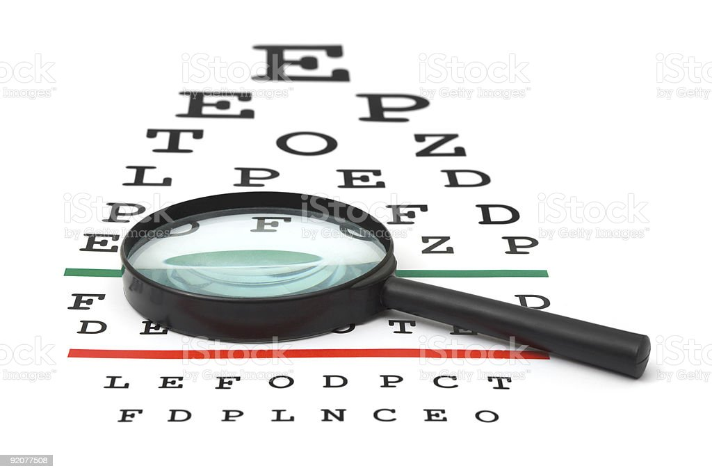 Magnifier on eyesight test chart royalty-free stock photo