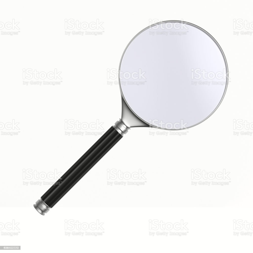 Magnifier on white background. Isolated 3D image vector art illustration
