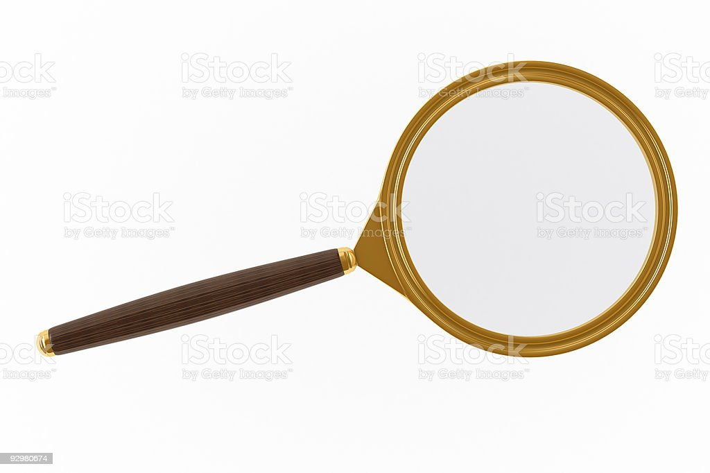 Magnifier on white background. Isolated 3D image stock photo