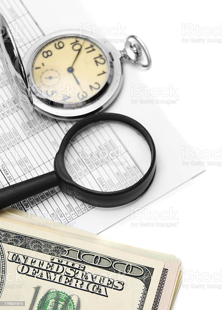 Magnifier, watches, documents and money. On a white background. royalty-free stock photo