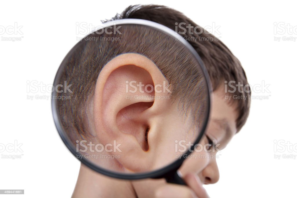 Magnifying ear stock photo