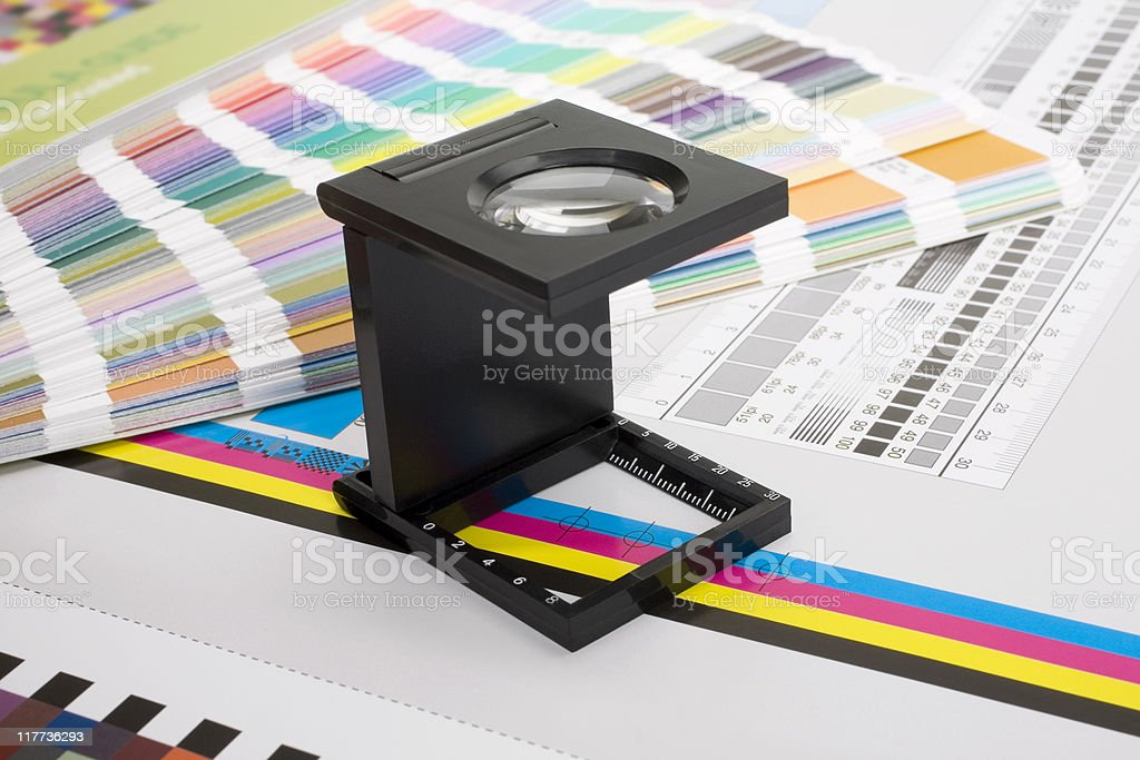 Magnifying Glass and Color guide royalty-free stock photo