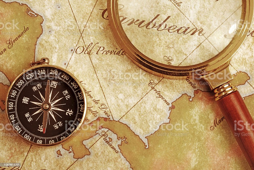 magnifying glass  and compass royalty-free stock photo