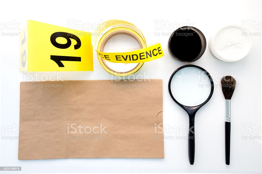 magnifying glass and detection of latent fingerprint  tool stock photo