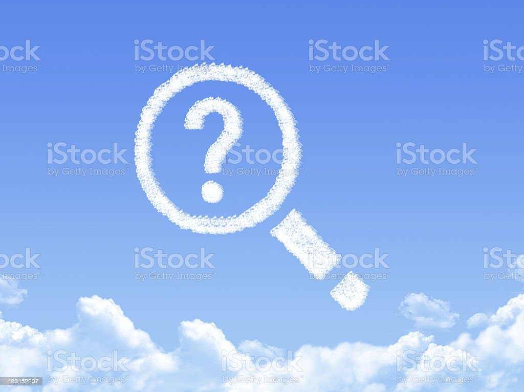 magnifying glass and question mark cloud shape stock photo