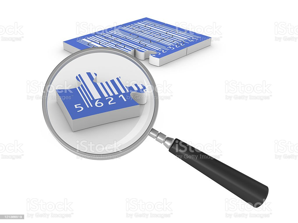 Magnifying Glass Focus Bar Code Puzzle royalty-free stock photo