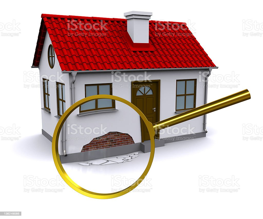 Magnifying glass increases damage on the wall 3d home royalty-free stock photo