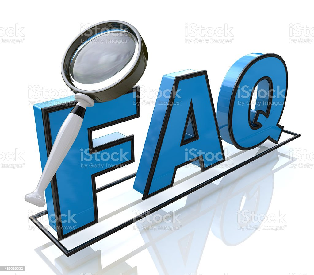 Magnifying glass looking to the text FAQ stock photo