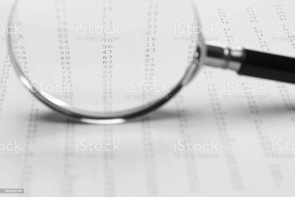 Magnifying glass / loupe (random numbers sequence) royalty-free stock photo