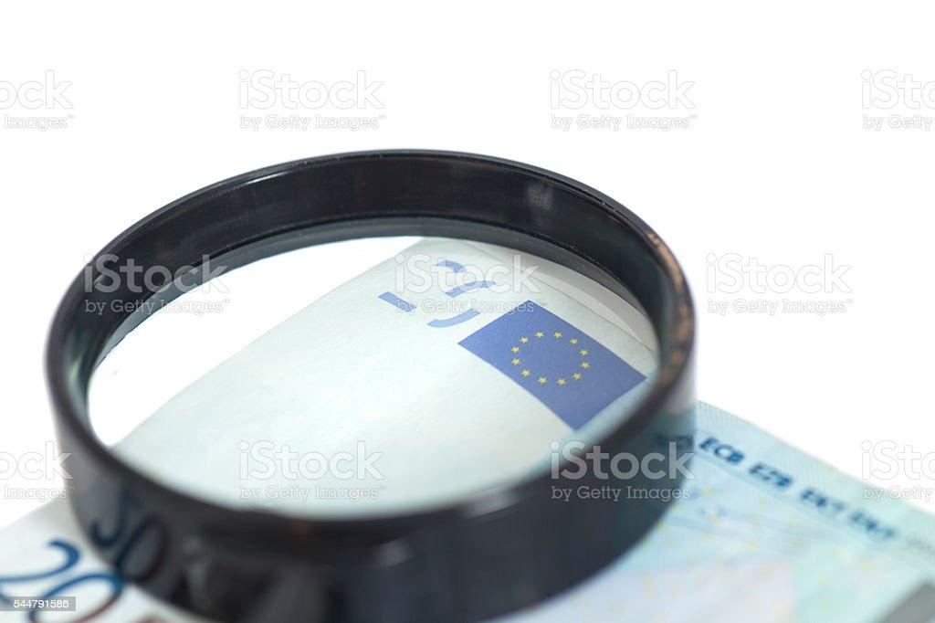 Magnifying Glass On 20 Euros stock photo