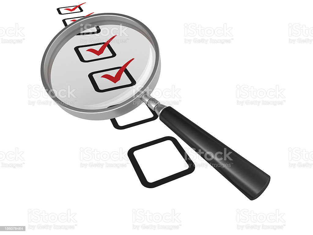 Magnifying Glass on Check List royalty-free stock photo