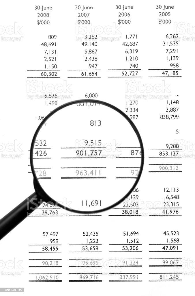 Magnifying Glass On Financial Balance Sheet royalty-free stock photo