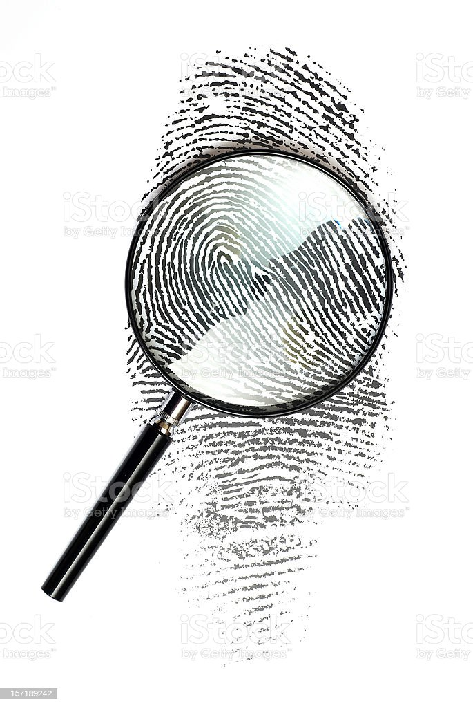 Magnifying glass on Fingerprint royalty-free stock photo