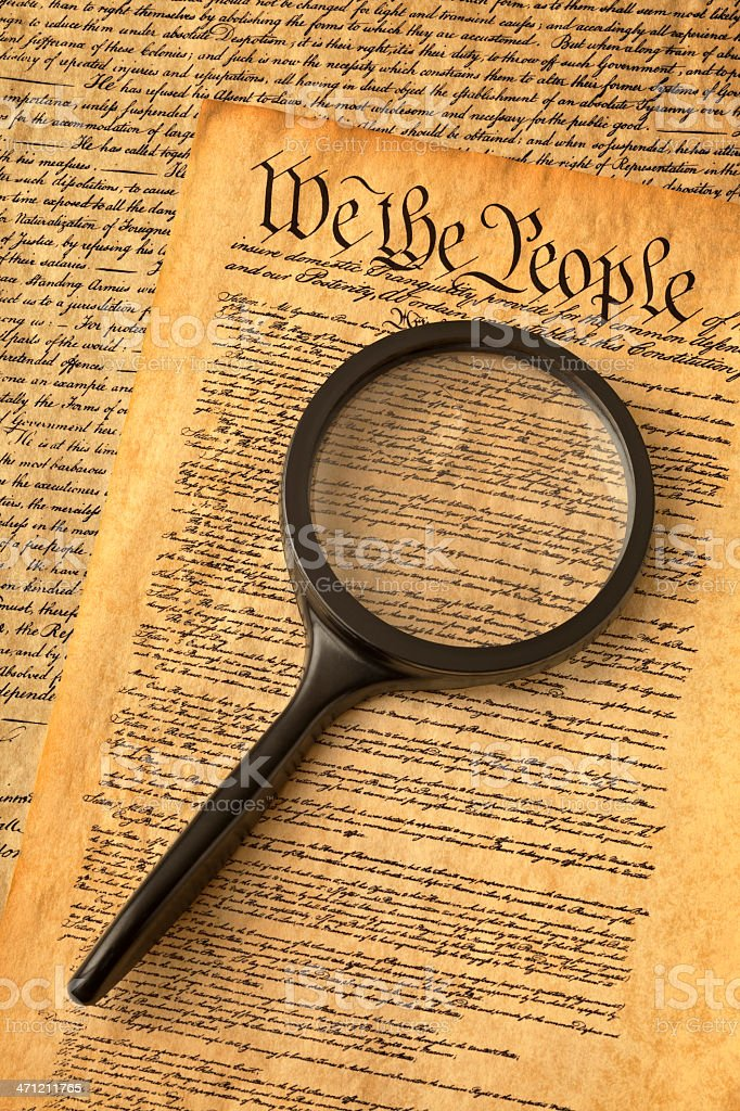 Magnifying Glass on Preamble to the Constitution of USA stock photo
