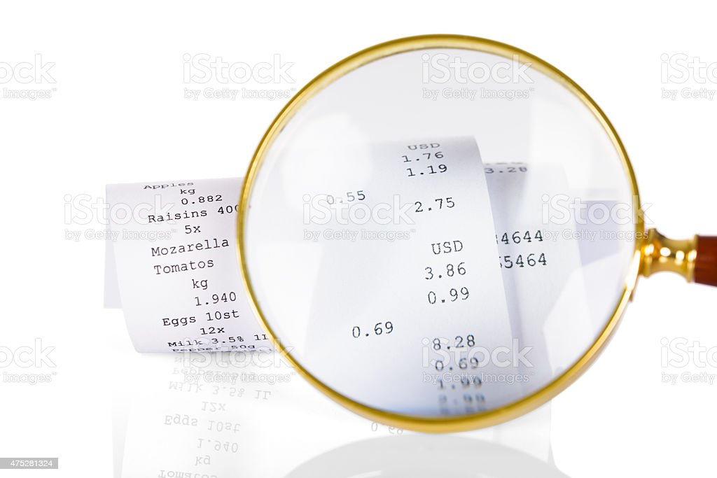 Magnifying Glass On Receipt stock photo