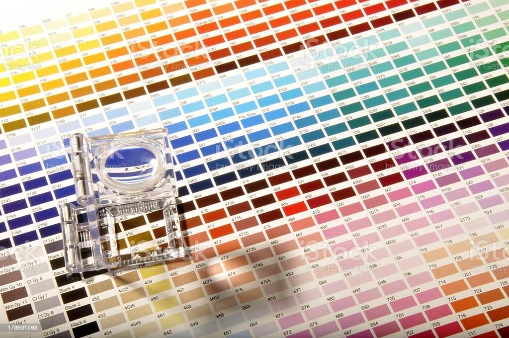 Magnifying Glass on the Color Swatches. royalty-free stock photo