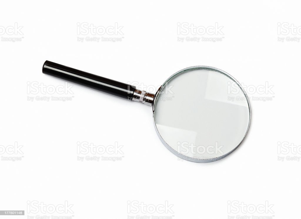 magnifying glass on white blank background stock photo