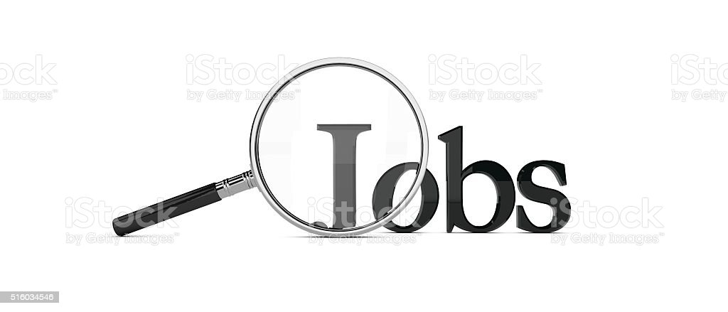 Magnifying glass over the word jobs stock photo