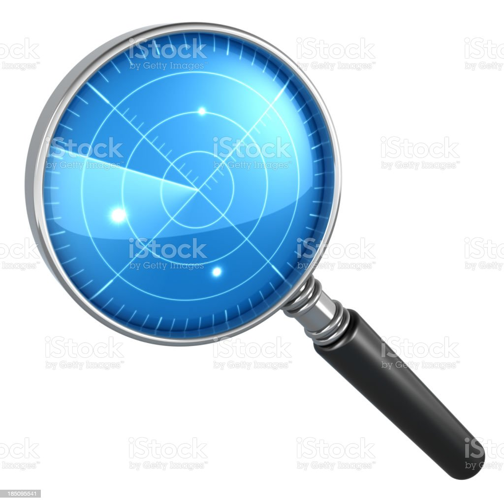 Magnifying glass radar concept royalty-free stock photo