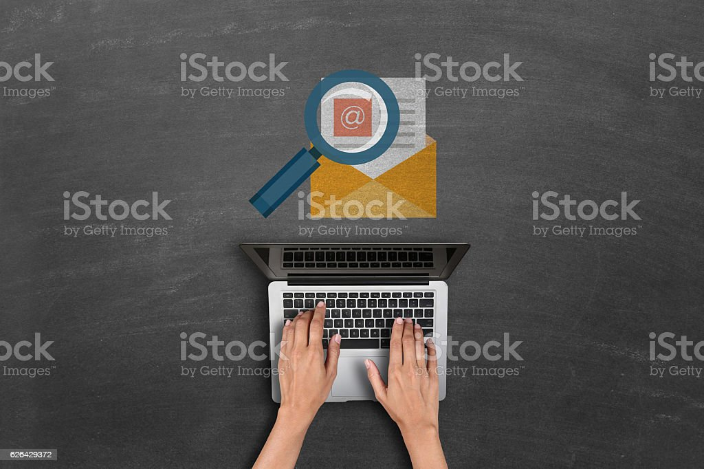 magnifying glass searching mail stock photo