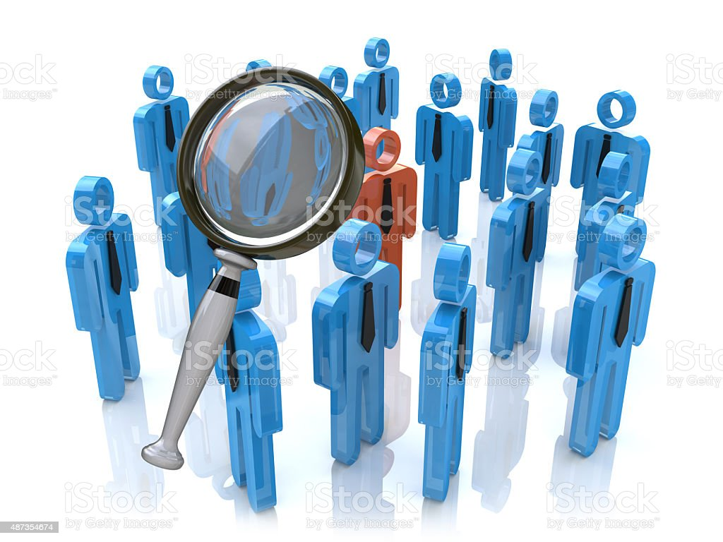 Magnifying glass searching people stock photo