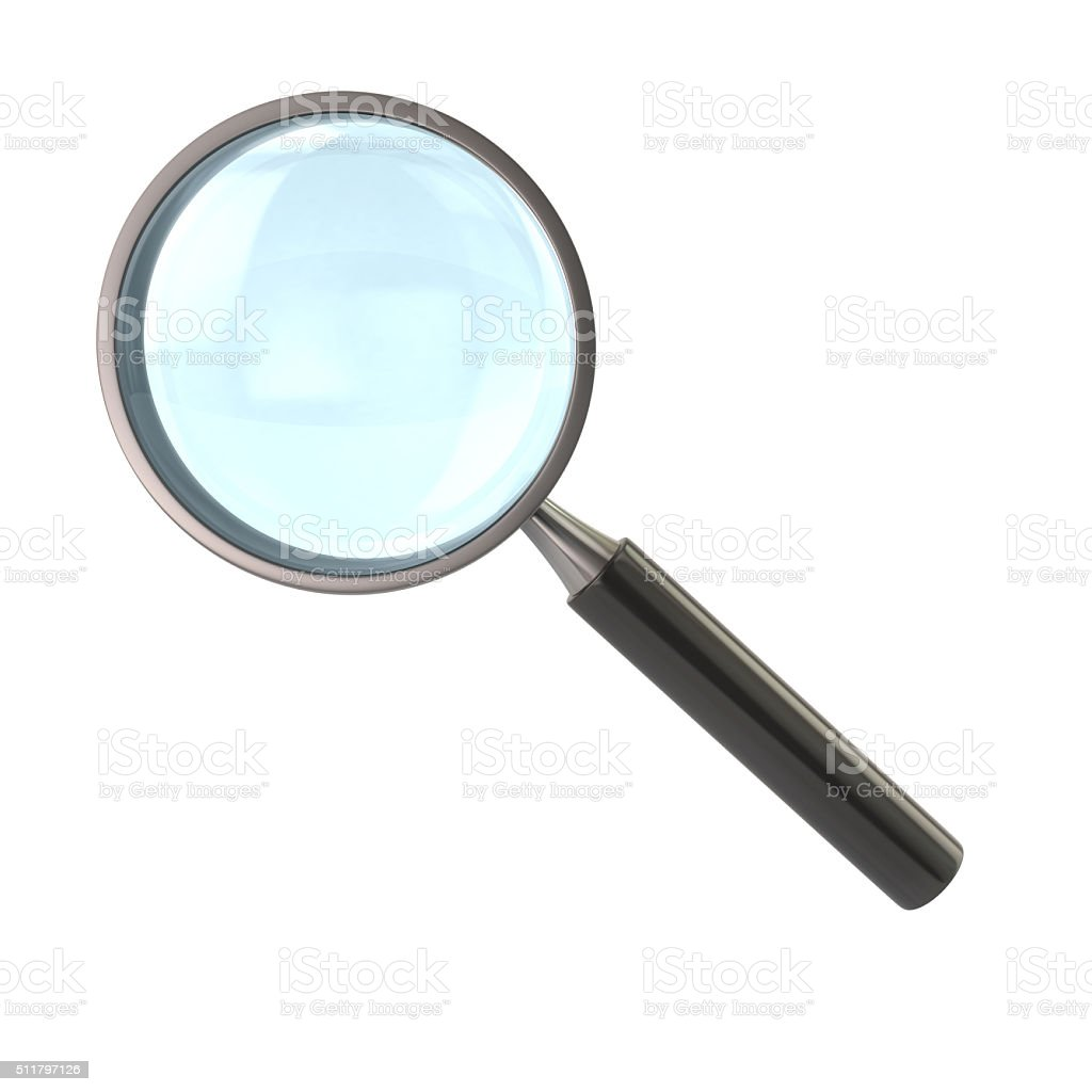 Magnifying glass with black handle stock photo