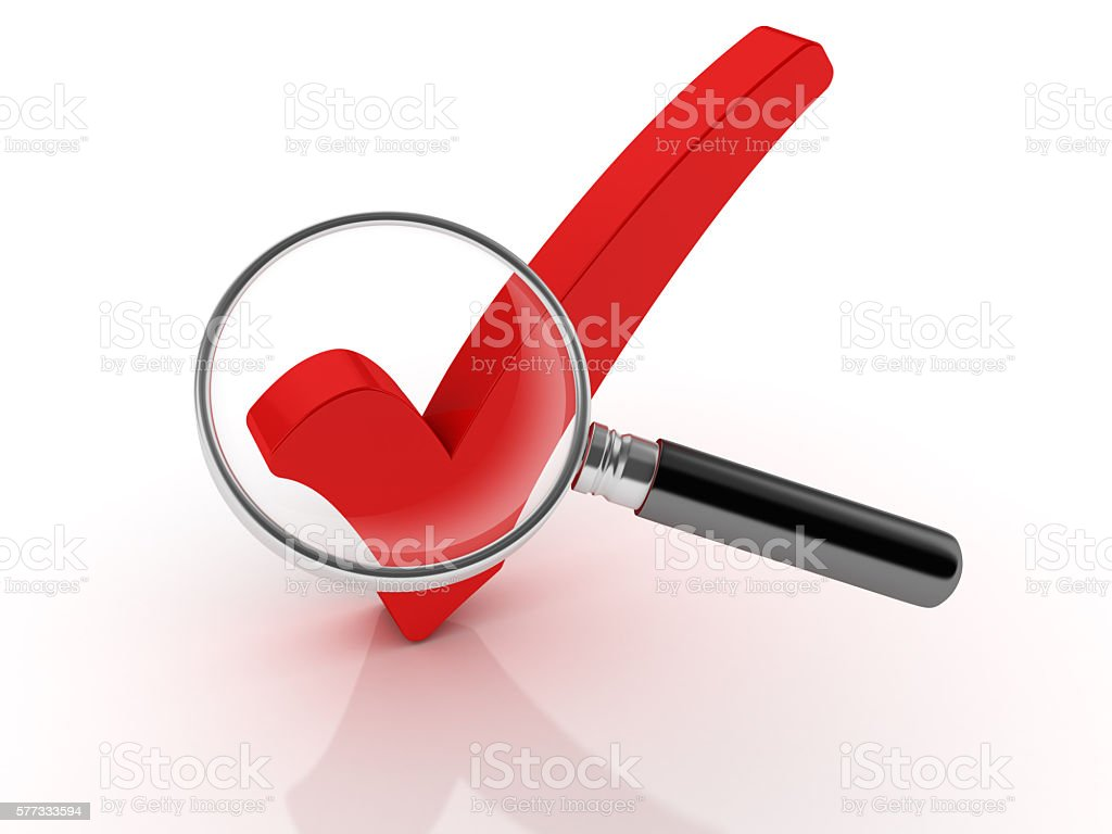 Magnifying Glass with Check Mark stock photo