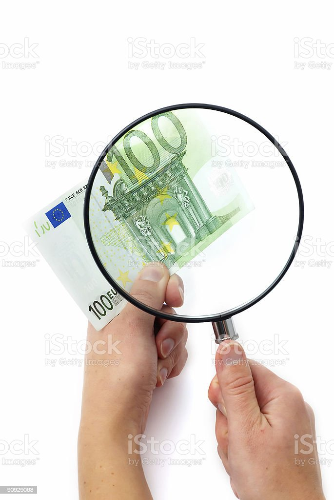 Magnifying glass with Euro royalty-free stock photo