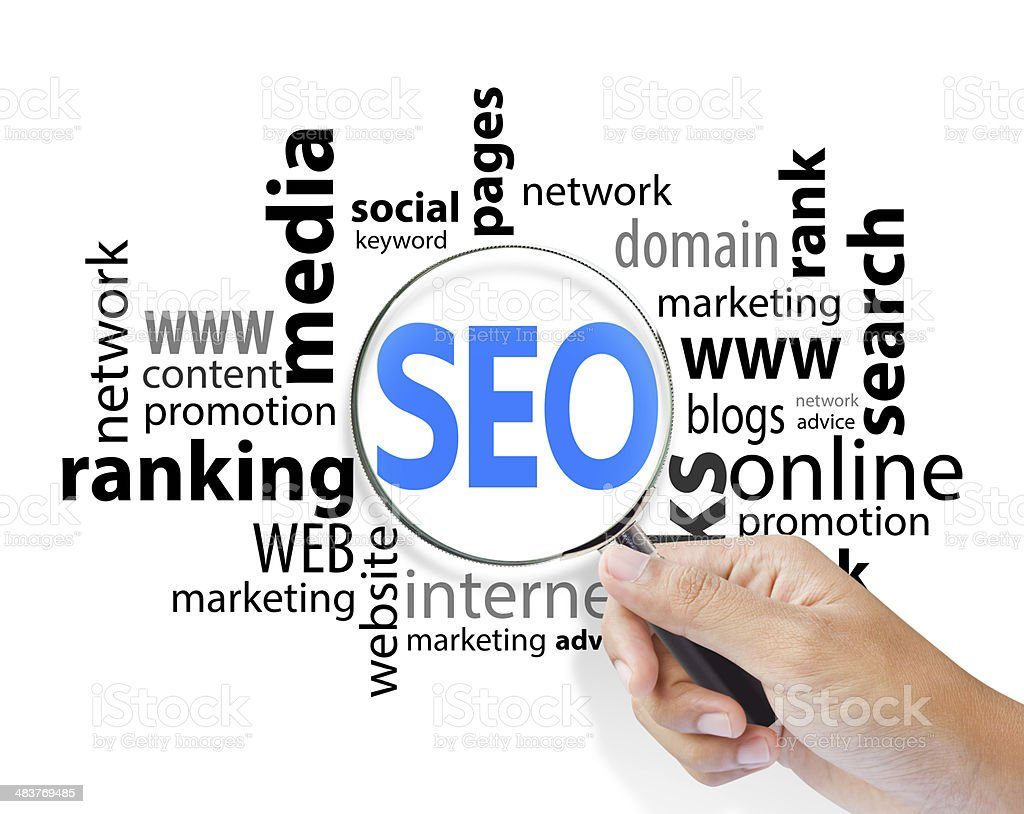 Magnifying Glass with SEO search, internet concept stock photo