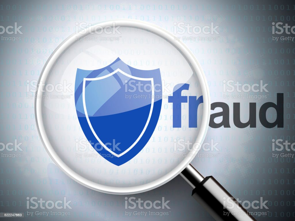 magnifying glass with shield icon and fraud word stock photo