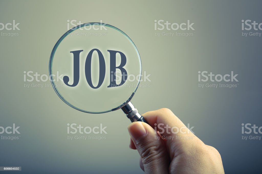 Magnifying Glass With Text JOB stock photo