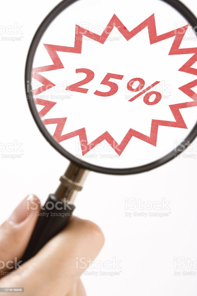 magnifying glassand 25 percent discount royalty-free stock photo