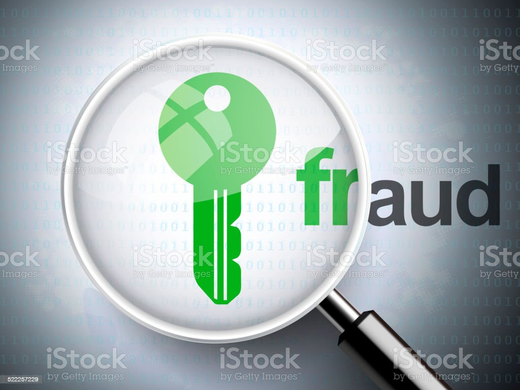 magnifying optical glass with key icon and fraud word stock photo