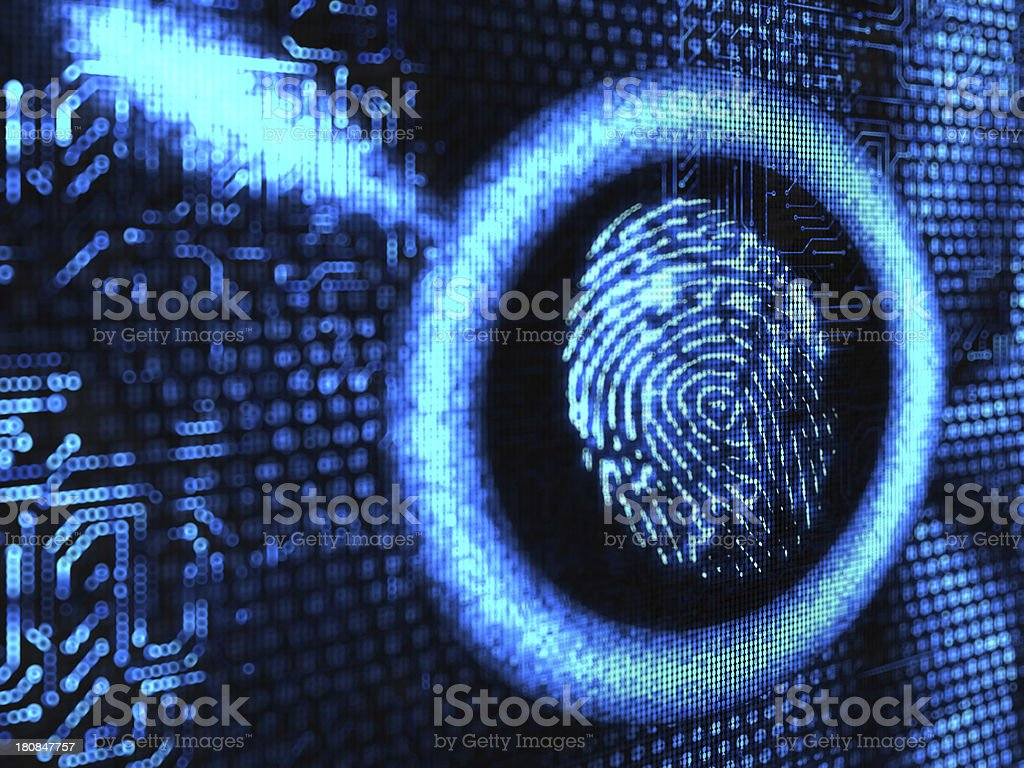Magnifying with fingerprint stock photo