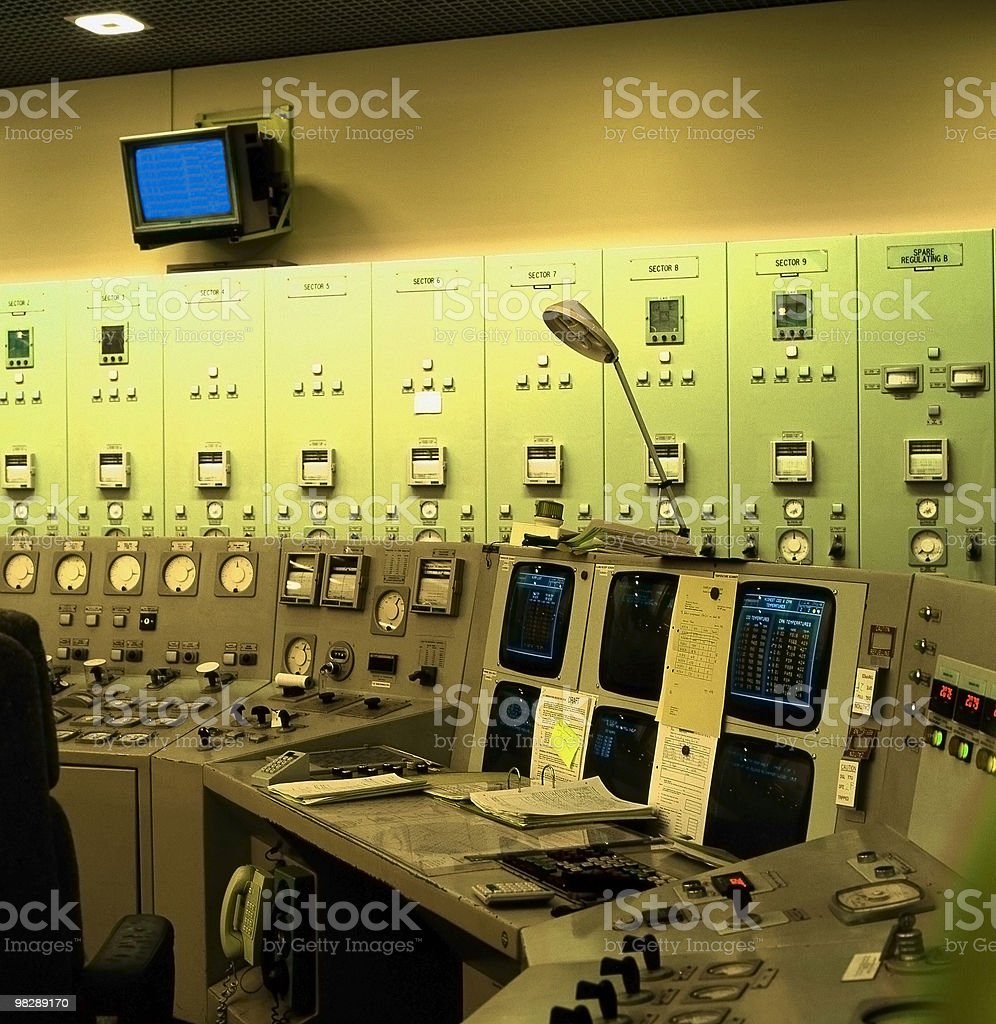 Magnox Nuclear Power Station. Control room. Oldbury. Avon. royalty-free stock photo
