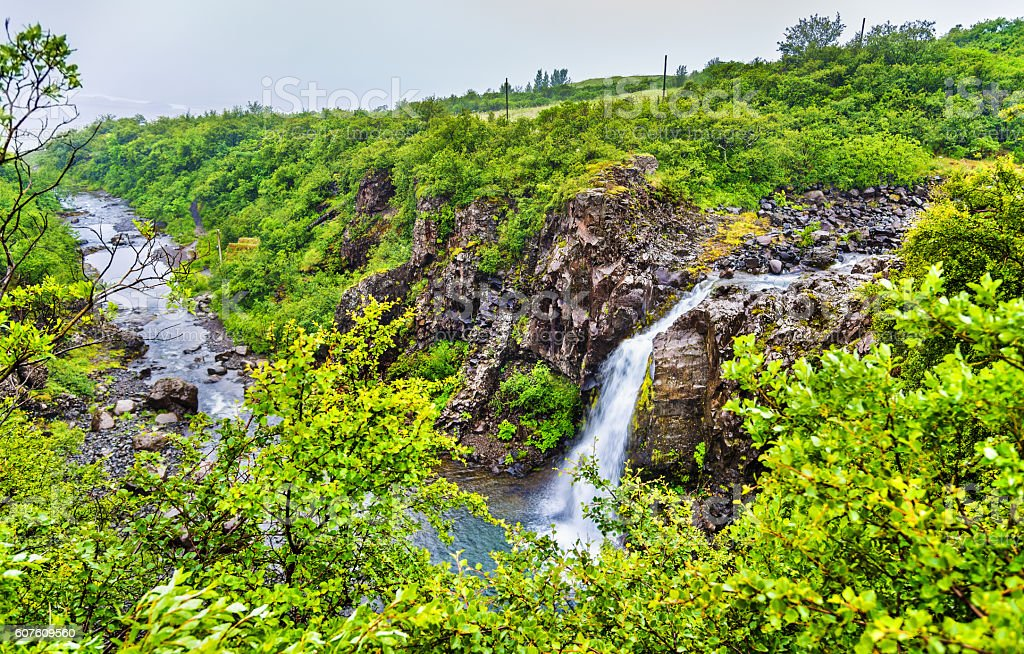 Magnusarfoss waterfall in Skaftafell National Park - Iceland stock photo