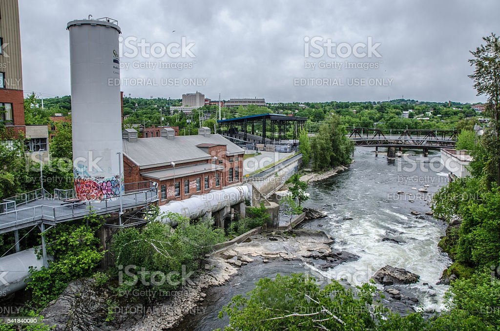 Magog river seen from above close to Sherbrooke dam downtown stock photo