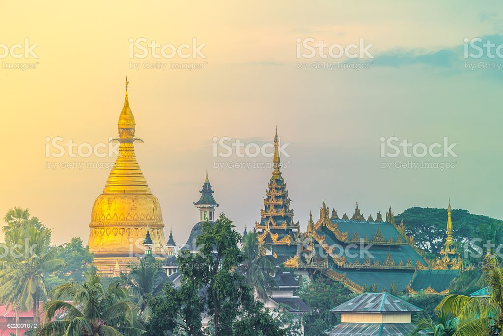 Maha Wizaya Pagoda, Yangon, Myanmar stock photo