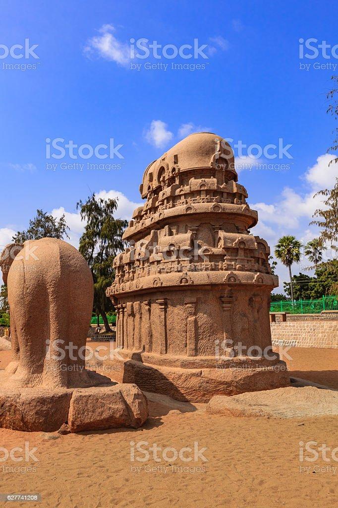 Mahabalipuram, India: 7th Century AD Nakula Sahadeva Ratha and Elephant stock photo