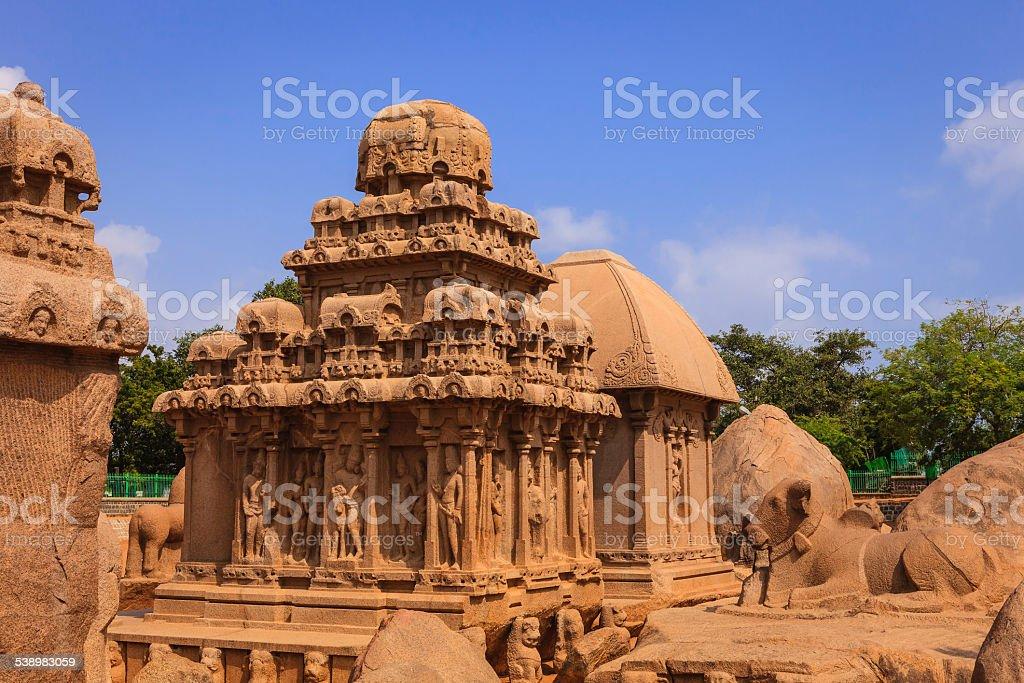 Mahabalipuram, India: 7th Century Arjuna Ratha, part of Pancha Rathas stock photo