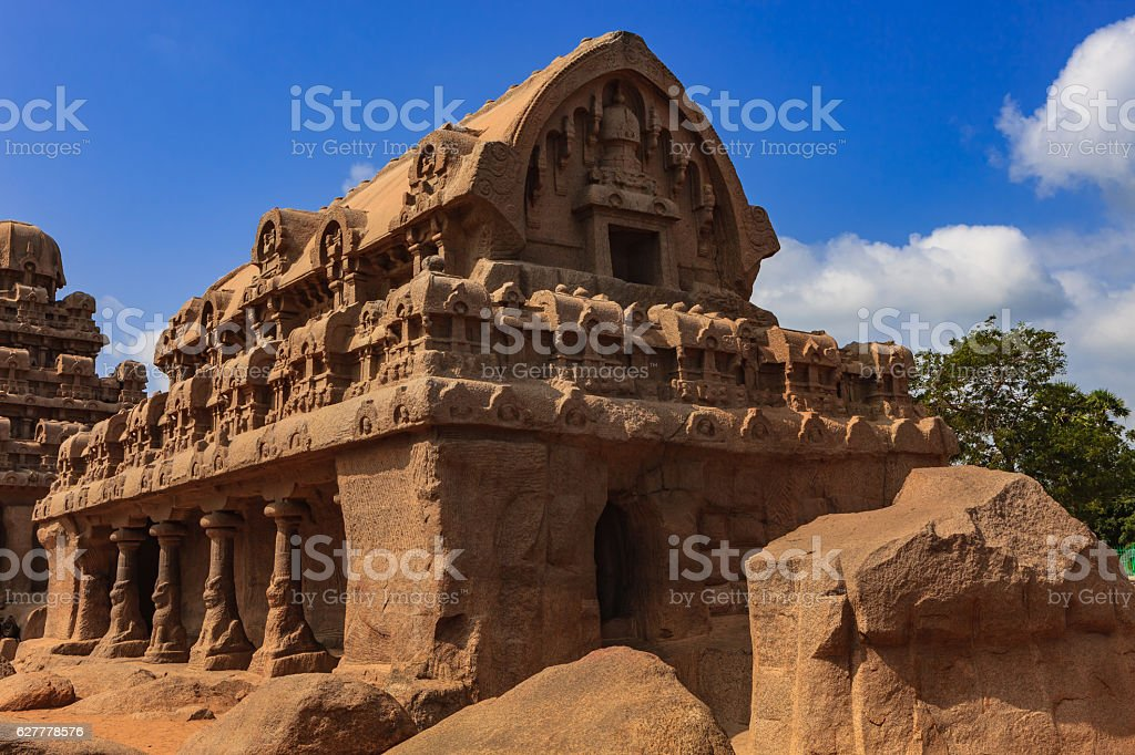 Mahabalipuram, India: 7th Century Bhima Ratha, Single Granite Structure stock photo