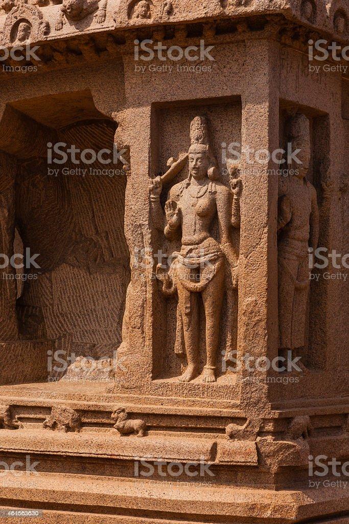 Mahabalipuram, India: 7th Century Dharmaraja Ratha; sculptural detail stock photo