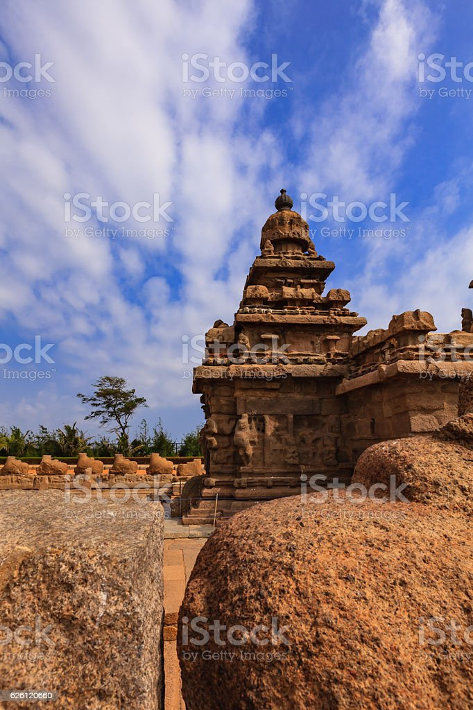 Mahabalipuram, India: 8th Century Shore Temple; Sand and Wind Erosion. stock photo