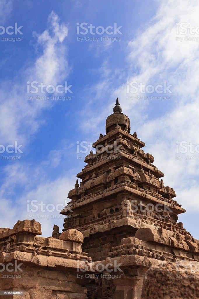 Mahabalipuram, India - Gopuram of 1300 Year Old Shore Temple stock photo