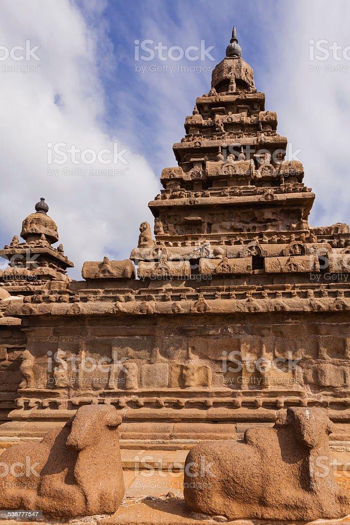 Mahabalipuram, India - Gopuram of Shore Temple against blue sky stock photo