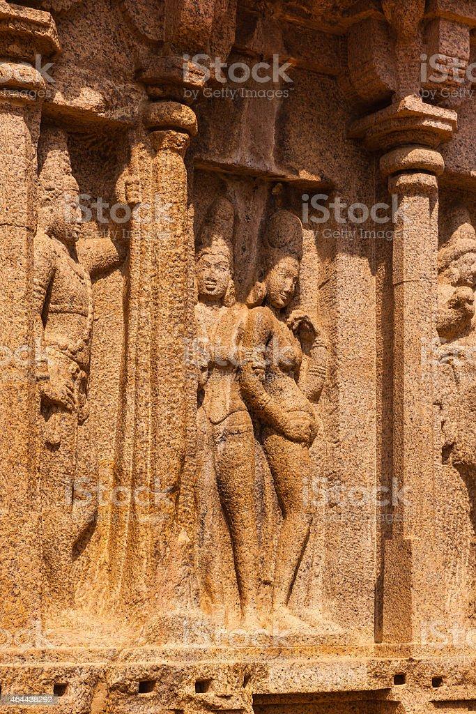 Mahabalipuram, India: Sculptural detail on Arjuna Ratha stock photo
