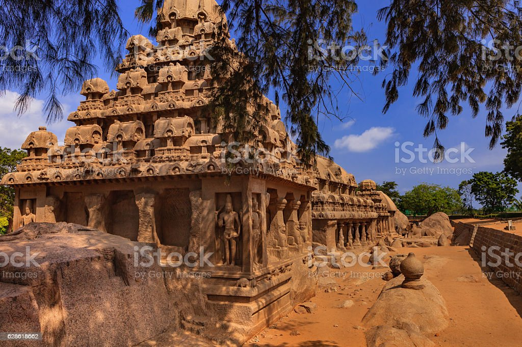 Mahabalipuram, India: 7th Century Rathas in Granite, in a row stock photo