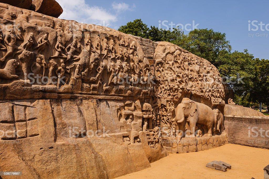 Mahabalipuram, India - The descent of the Ganges stock photo